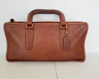 Bonnie Cashin NYC Bag Coach Handbag Slim Satchel British Tan Slim Brief Case Double Handles Brown Purse Coach Leatherware  1978