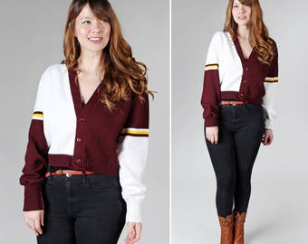 Vintage 80 ' s Varsity Style Cardigan - 1980 ' s Retro manches longues grand recadrée Crop pull Maroon chemise Top Casual rouge - taille Large