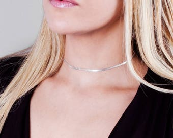 Silver Choker, Sterling Silver Collar Necklace, Thick Silver Necklace, Layered Choker Necklace, Silver Choker Chain, Silver Wedding Choker