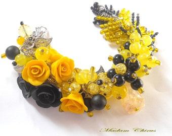 Yellow rose bracelet Polymer clay bracelet Flower bracelet Wrist corsage Black bracelet women Black rose bracelet Black yellow jewelry