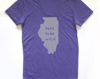 illinois shirt, illinois tshirt, graphic t, state pride, woman fashion t, gray tshirt, screen print, silkscreen, free shipping