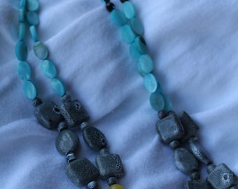 Yellow, Turquoise and Grey Necklace