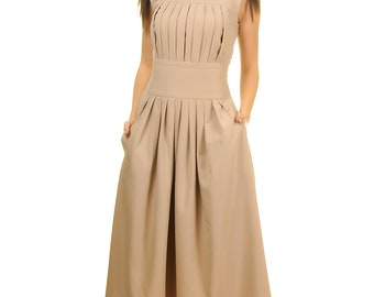 long pleated dress with pockets, empire waist dress, retro style dress, ladies clothing