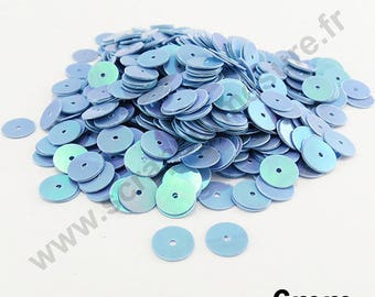 Glitter flat sequin - LILAC blue mother of Pearl - 6mm - x 400pcs