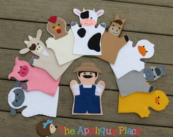 Farm Puppet Sets *For purchase as a SET or INDIVIDUALLY* Adult hand, Child hand, or Finger Puppet