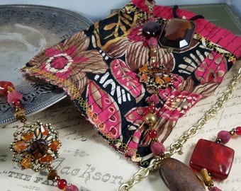 Tropical Beaded Cross Body Cell Phone Bag for Boho Gypsy Hippie