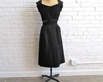1950s Black Wiggle Dress // 1950s Little Black Dress LBD // Vintage 1950s Black Wiggle Dress