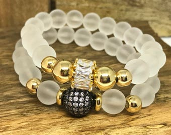 Glass White Beaded Bracelets. Set of two. With gold field beads and some bling.