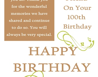 Friend 100 Birthday Card with removable laminate