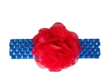 July 4th Headband, Red Blue Headband, Patriotic Headband, American Headband, Baby Patriotic Headband, July 4th Hair Bow, Independence Day
