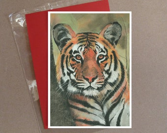 "Tiger (2) card 5 x 7"" with envelope"