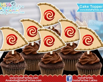 MOANA cupcake toppers sailboat boats cup cake tags labels Birthday Party digital printable file DIGITAL PDF sail images Instant Download
