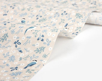 Dailylike (cotton) - Wander about forest titmouse Fabric- 50cm
