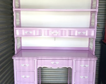 Redesigned Lavender and white French Provincial Desk and Lighted Hutch