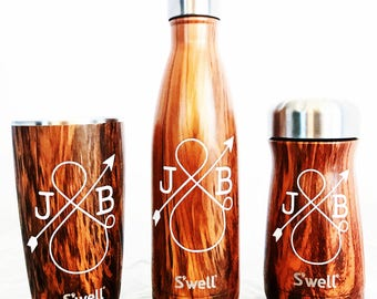 Personalized Love Ampersand S'well Traveler  - Teakwood - Wedding, Christmas, Anniversary, Valentine's Day Swell Bottle