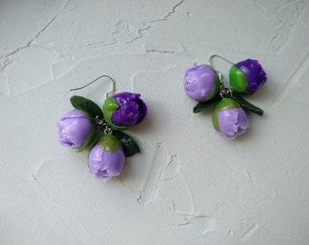 Polymer Clay Jewelry, Violet Peony Earrings Dangle Earrings Flower Earrings Gift Earrings Gift For Woman Delicate Earrings, Purple earrings