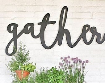 Extra Large Stained Gather Word Wood Cut Wall Art Sign Decor