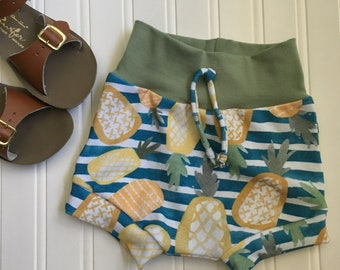 Pineapple Striped Shorties, Shorts, Summer