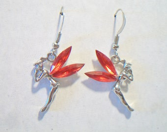 Red Winged Fairy Earrings Whimsical Sprite Magical Pixie Jewelry Fashion Accessories For Her
