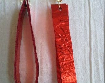 Leather Earrings Pierced or Clip on Red Metallic Leather