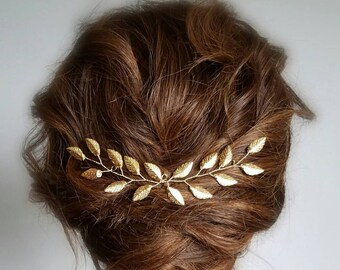 Gold Wedding Hair Vine, Gold Leaf Hair Comb, Gold Leaf Hair Accessory, Hair Vine Bridal, Gold Hair Vine, Hair Vine Jewelry, Wedding