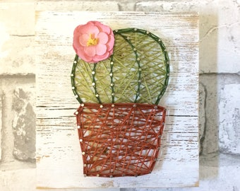 Cactus String Art, Cactus Decor, Cacti, String Art, Wall Decor, Nursery Wall Decor, Kids Bedroom Decor, Home Decor, Wood Wall Art