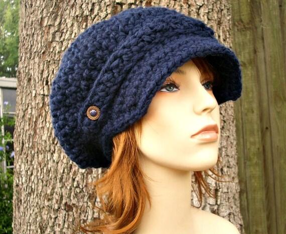 Crochet Hat Womens Hat Navy Blue Newsboy Hat - Crochet Newsboy Hat in Navy Blue Crochet Hat - Blue Hat Navy Hat Womens Accessories