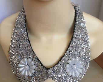 Silver Bib Statement Necklace