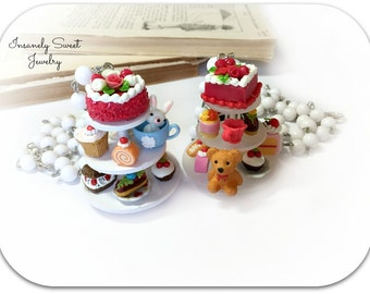 Tea Party Cake Stand Necklace- Teddy Bear or Bunny