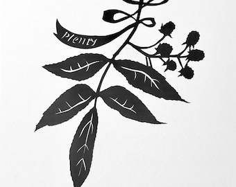 Plenty Silhouette Papercutting with Ribbon and Berries