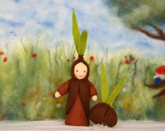 Bulb Child with bulb / Root children natural Table/  waldorf inspired / seedling