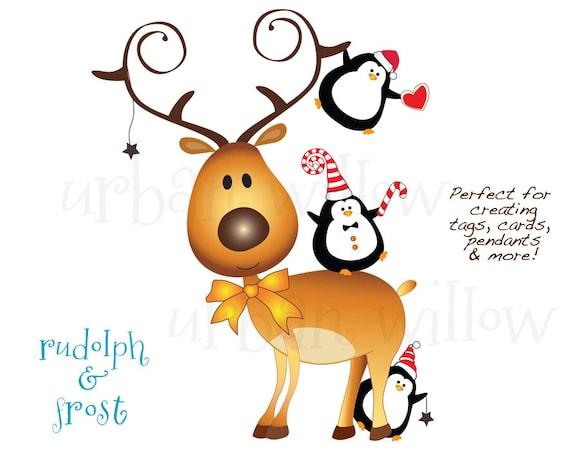 70 off black friday rudolph clipart funny penguin clipart cute rh etsystudio com cute reindeer face clipart cute christmas reindeer clipart