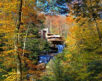 Fallingwater in Autumn - Fine Art Landscape Print - Frank Llloyd Wright, Pennsylvania, Fall Foliage Photography - Colorful Leaves