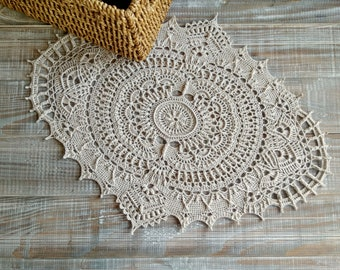 Crochet doily Oval doily lace Doily rustic Wedding center piece Boho Wedding doily Apartment decorating First apartment gift bedroom ideas