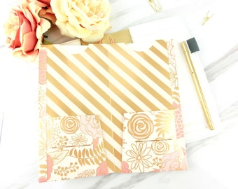 Pink x Gold collection (3) - Fauxdori ,Midori Travelers Notebook Folder   All sizes   MTN 4 pocket folder   Pink flowers TN folder