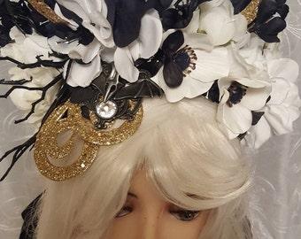 Gothic crown, steampunk, horned, queen, vampire, dark fairy, black,  fairy crown, vampire mistress, headdress, fairy