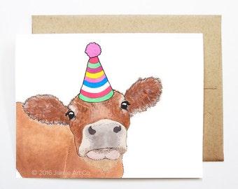 Cow birthday etsy birthday card cow animal birthday animal card cute greeting card kids bookmarktalkfo Images