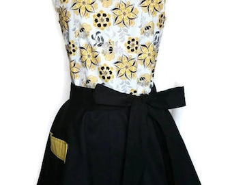 Flirty Classic Yellow and Black floral Pin up Apron with pockets, Christmas gift, bridal shower gift, full hostess women's apron,