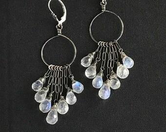 Moonstone Earrings Moonstone Chandelier Earrings Oxidized Silver Moonstone Hoop Earrings Long Earrings Boho Chic Jewelry Statement Earrings
