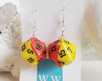 READY TO SHIP D20 Twenty Sided Dice Earrings - Yellow and Orange with Black Numbers - Geeky Gamer Jewelry