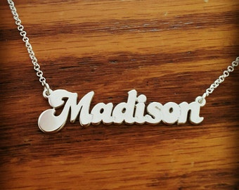 Silvet Name Necklace / ORDER ANY NAME / Personalized sterling silver name necklace / Custom Name Jewelry / Word Necklace / My Name Necklace