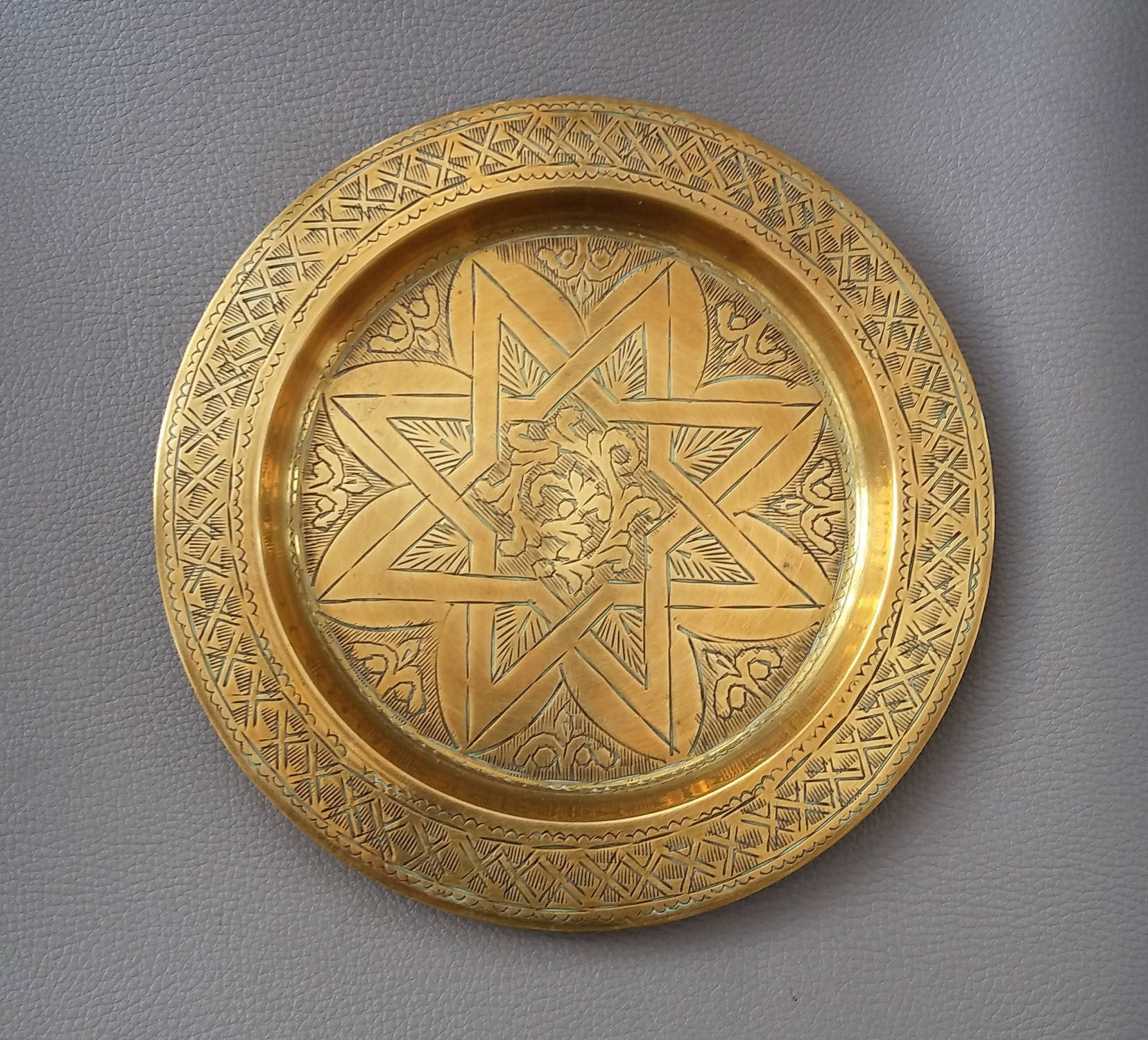 Brass tray vintage brass engraved brass engraved wall