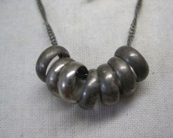 Shabby Silver Rings Necklace Vintage