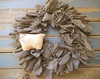 Sheep  - Rustic Wreath - Sheep Door Wreath - Rag  Wreath - Primitive Wreath - Rustic Door Wreath - Black and Natural White - BAA - Gingham