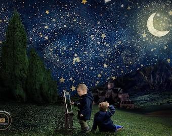Starry Night Digital Background, Digital Backdrop, Starry Night Backdrop, Starry Night Overlay, Vincent VanGogh, Van Gogh Backdrop