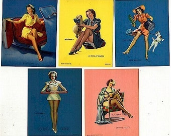 Original 1945 Set of 5 ELVGREN PIN-UP Pinup Prints
