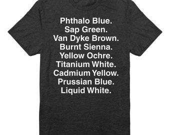Bob Ross Shirt - Happy Trees - Funny shirt - Oil Paint Colors