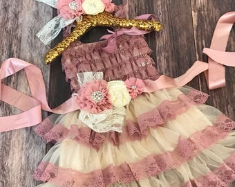 Country Rose Petti Dress with Shabby Chic Sash / Girls Petti Dress / Rustic Chic Dress /  Petti Dress / Country Dress / Flower Girl