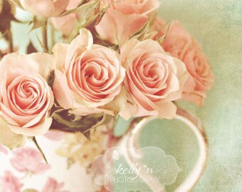 """Pink Roses and Teapot Photograph, Shabby Chic Decor, Pink Floral Decor, Pastel Pink, Cottage Floral Art, """"Shabby Sweet"""" 8x10 Fine Art Print"""