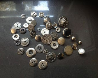 vintage silver button mix (40)